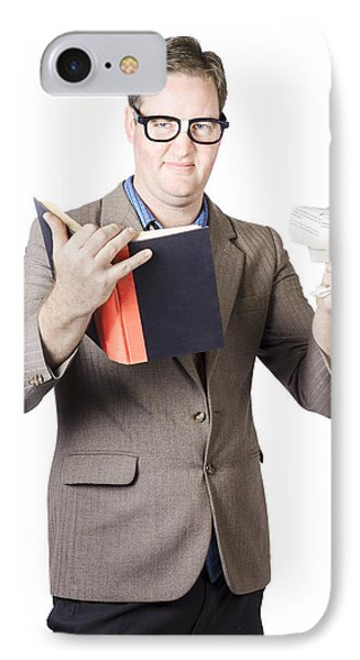 Businessman With Book And Crumpled Paper IPhone Case