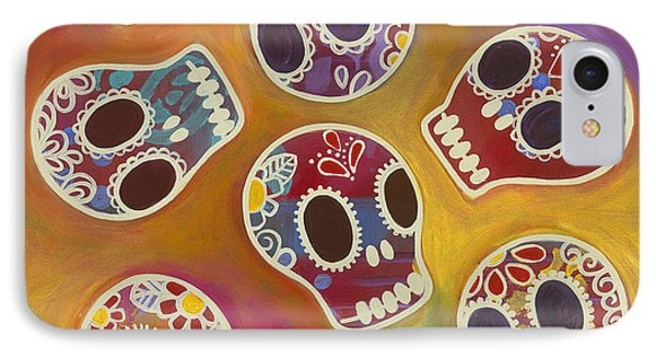 IPhone Case featuring the painting Calaberitas Day Of The Dead Skulls by Carla Bank