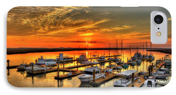 Calm Waters Bull River Marina Tybee Island Savannah Georgia Art IPhone Case