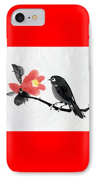 Camellia And A Little Bird IPhone Case