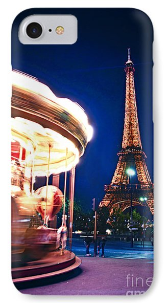 Carousel And Eiffel Tower IPhone Case