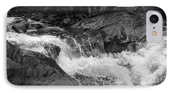 Cascade Stream Gorge, Rangeley, Maine  -70756-70771-pano-bw IPhone Case