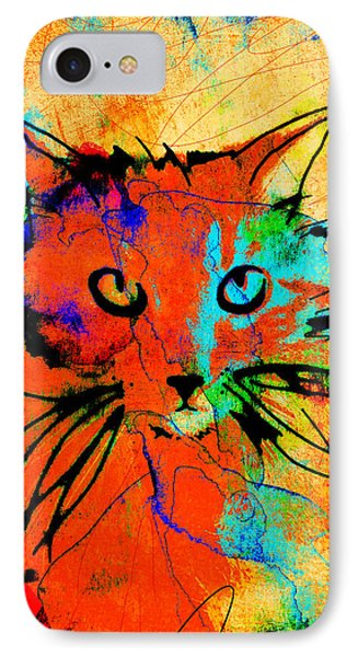 Cat In Red And Yellow IPhone Case