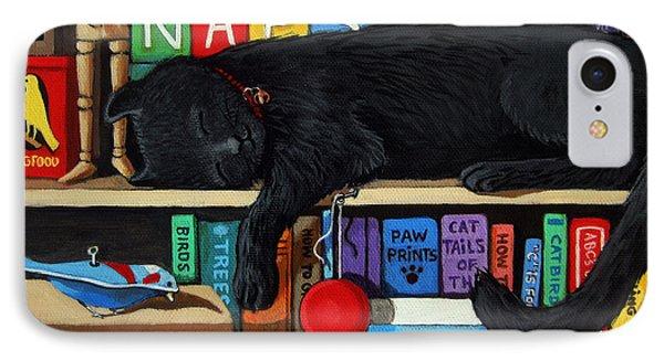 Cat Nap - Orginal Black Cat Painting IPhone Case