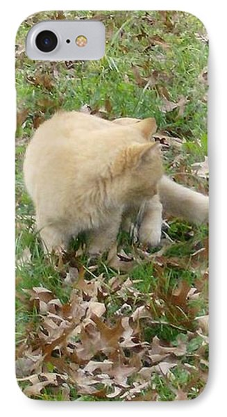 Cat Playing In The Leaves IPhone Case