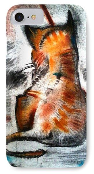 Cat Sketch Drawing Orange Yellow IPhone Case