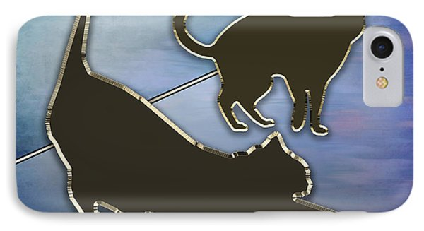 IPhone Case featuring the digital art Cat Stretching  by Chuck Staley