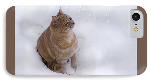 Cat With Snowflakes IPhone Case