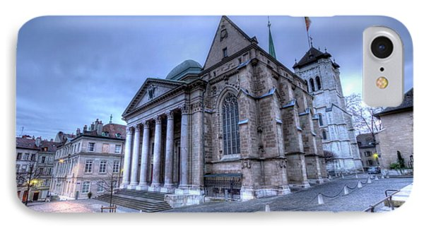 Cathedral Saint-pierre, Peter, In The Old City, Geneva, Switzerland, Hdr IPhone Case