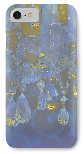 Champagne Ballroom Closeup, Glowing Glitter Fantasy Chandelier IPhone Case