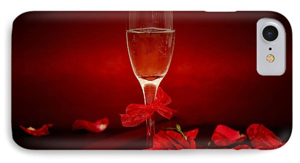 Champagne Glass With Red Roses And Petals IPhone Case