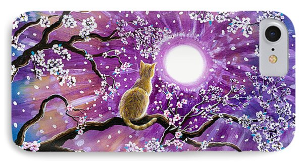 Champagne Tabby Cat In Cherry Blossoms IPhone Case
