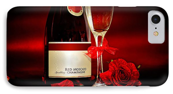 Champagne With Red Roses And Petals IPhone Case