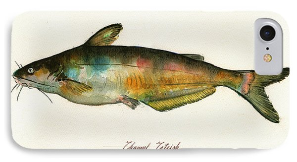 Channel Catfish Fish Animal Watercolor Painting IPhone Case