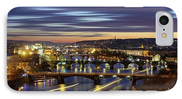 Charles Bridge During Sunset With Several Boats, Prague, Czech Republic IPhone Case