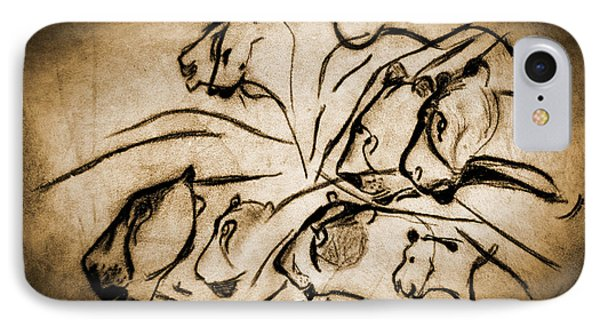 Chauvet Cave Lions Burned Leather IPhone Case