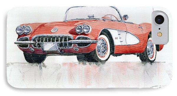 Car iPhone 8 Case - Chevrolet Corvette C1 1960  by Yuriy Shevchuk