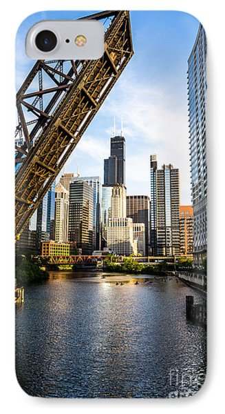 Chicago Downtown And Kinzie Street Railroad Bridge IPhone Case