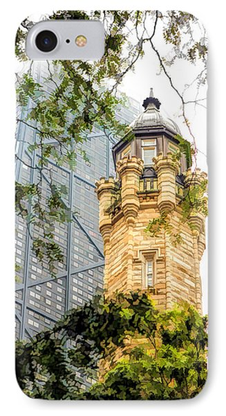 IPhone Case featuring the painting Chicago Historic Water Tower Fog by Christopher Arndt