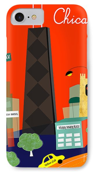 Chicago Illinois Vertical Skyline - Michigan Ave. IPhone Case