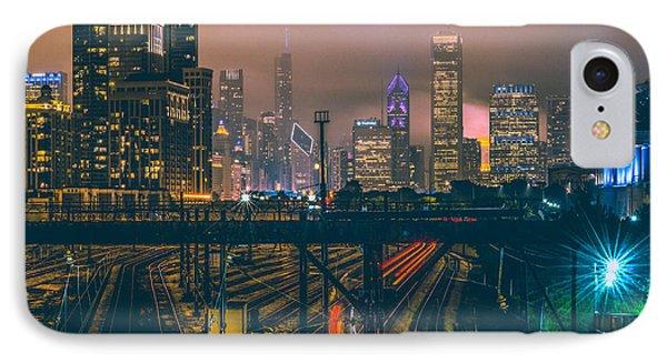 Transportation iPhone 8 Case - Chicago Night Skyline  by Cory Dewald