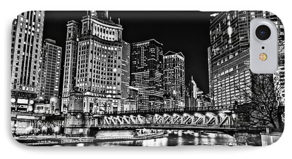 Chicago River Skyline At Night Picture IPhone Case