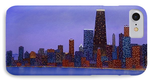 Chicago Skyline At Dusk From North Ave Beach Pier IPhone Case