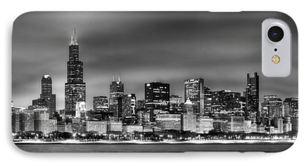 Chicago Skyline At Night Black And White IPhone Case