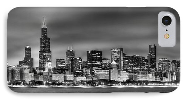 City Scenes iPhone 8 Case - Chicago Skyline At Night Black And White by Jon Holiday