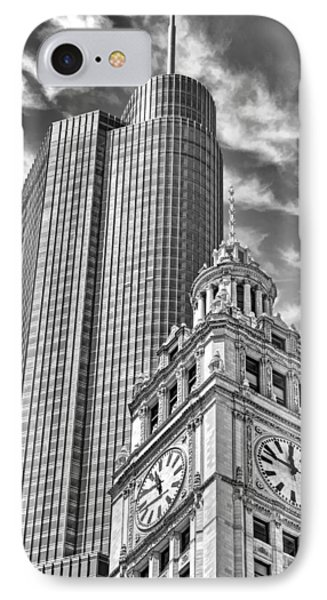 IPhone Case featuring the photograph Chicago Trump And Wrigley Towers Black And White by Christopher Arndt