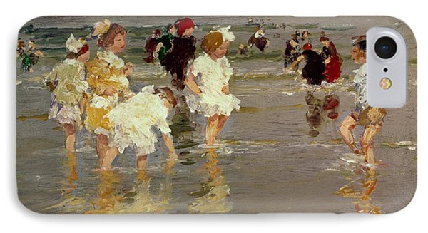 Impressionism iPhone 8 Case - Children On The Beach by Edward Henry Potthast