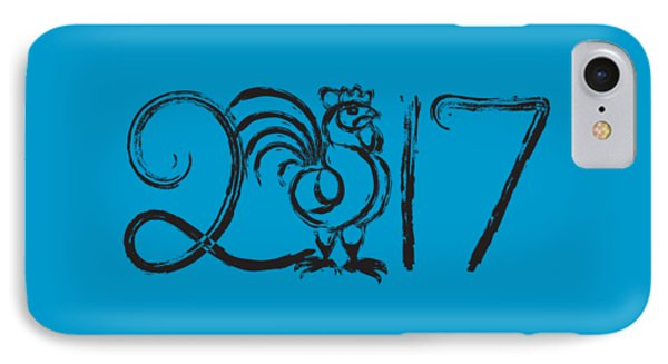 Chinese New Year Rooster Ink Brush Illustration IPhone Case
