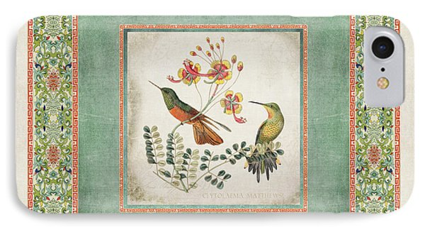 Chinoiserie Vintage Hummingbirds N Flowers 1 IPhone Case