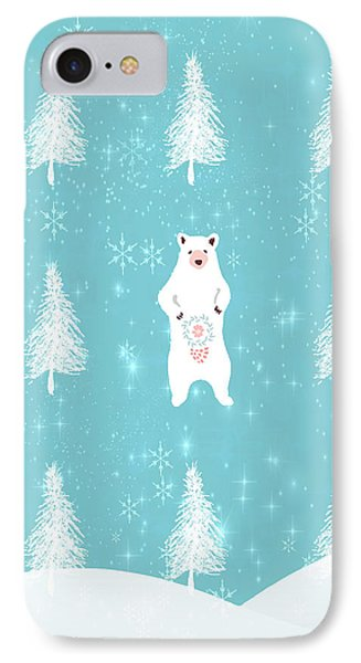Christmas Dawn - White Bear IPhone Case