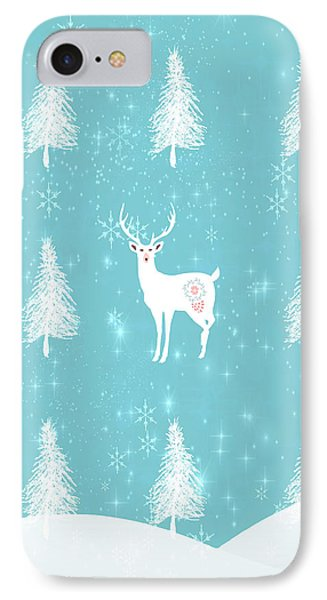 Christmas Dawn - White Stag IPhone Case