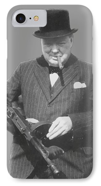 England iPhone 8 Case - Churchill Posing With A Tommy Gun by War Is Hell Store