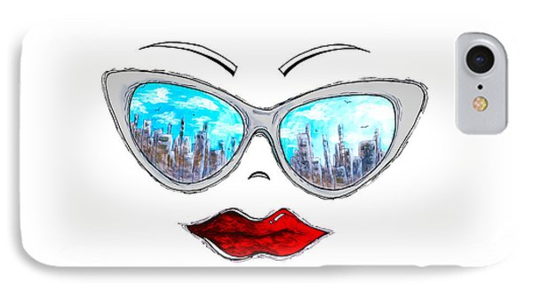 City Skyline Cat Eyes Reflection Sunglasses Aroon Melane 2015 Collection Collaboration With Madart IPhone Case