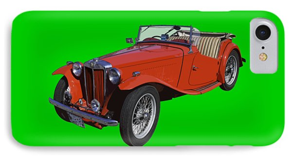 Classic Red Mg Tc Convertible British Sports Car IPhone Case
