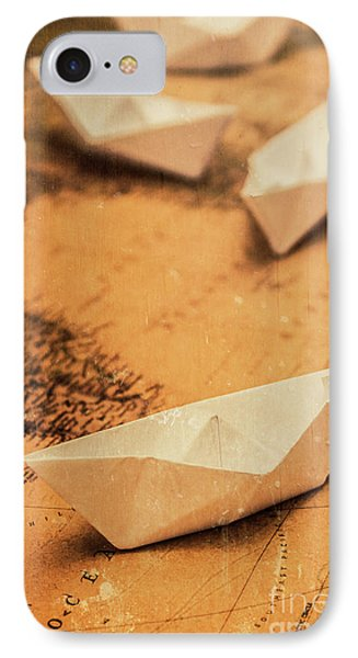Closeup Toned Image Of Paper Boats On World Map IPhone Case
