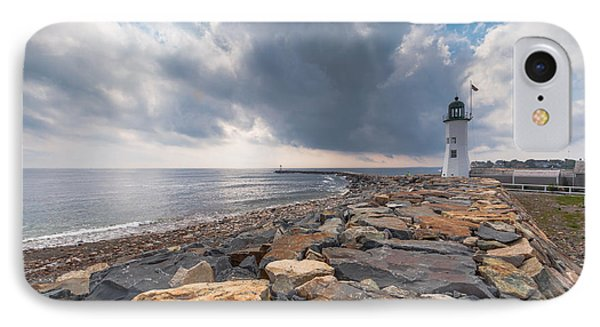 Clouds Over Old Scituate Light IPhone Case