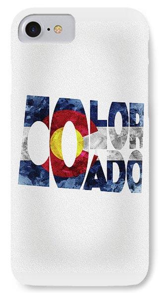 Colorado Typographic Map Flag IPhone Case