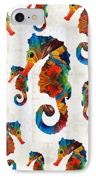 Colorful Seahorse Collage Art By Sharon Cummings IPhone Case