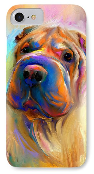 Colorful Shar Pei Dog Portrait Painting  IPhone Case