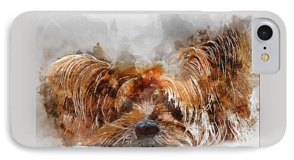 Colorful Yorkshire Terrier Dog Portrait - By Diana Van IPhone Case