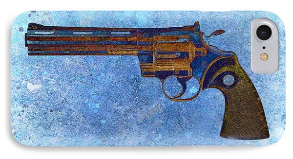 Colt Python 357 Mag On Blue Background. IPhone Case