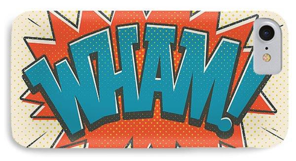 Comic Wham On White IPhone Case