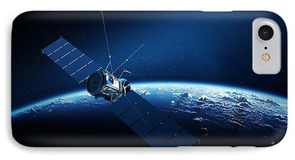 Communications Satellite Orbiting Earth IPhone Case