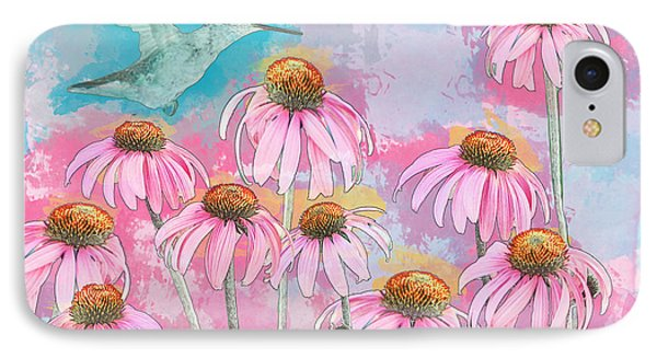 Coneflower Hummingbird Watercolor IPhone Case