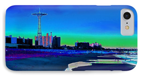 Coney Island Parachute Jump And Beach IPhone Case