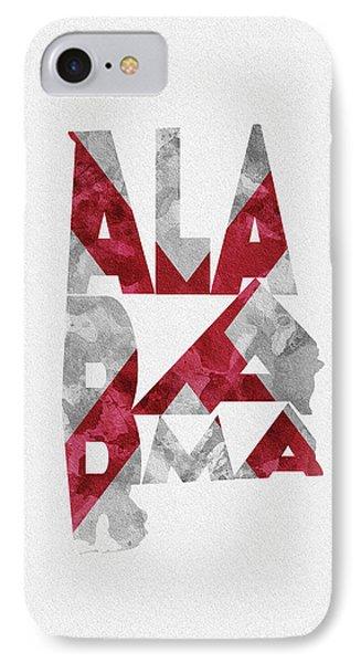 Alabama Typographic Map Flag IPhone Case